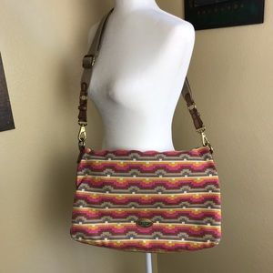 NEW Fossil Fold over Explorer tote in Aztec print